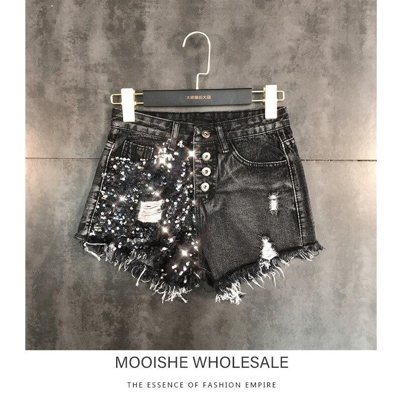 Sequins Women Denim Shorts Stitching Hole Mahogany Washed Denim Shorts Female 2019 Spring New Bottom