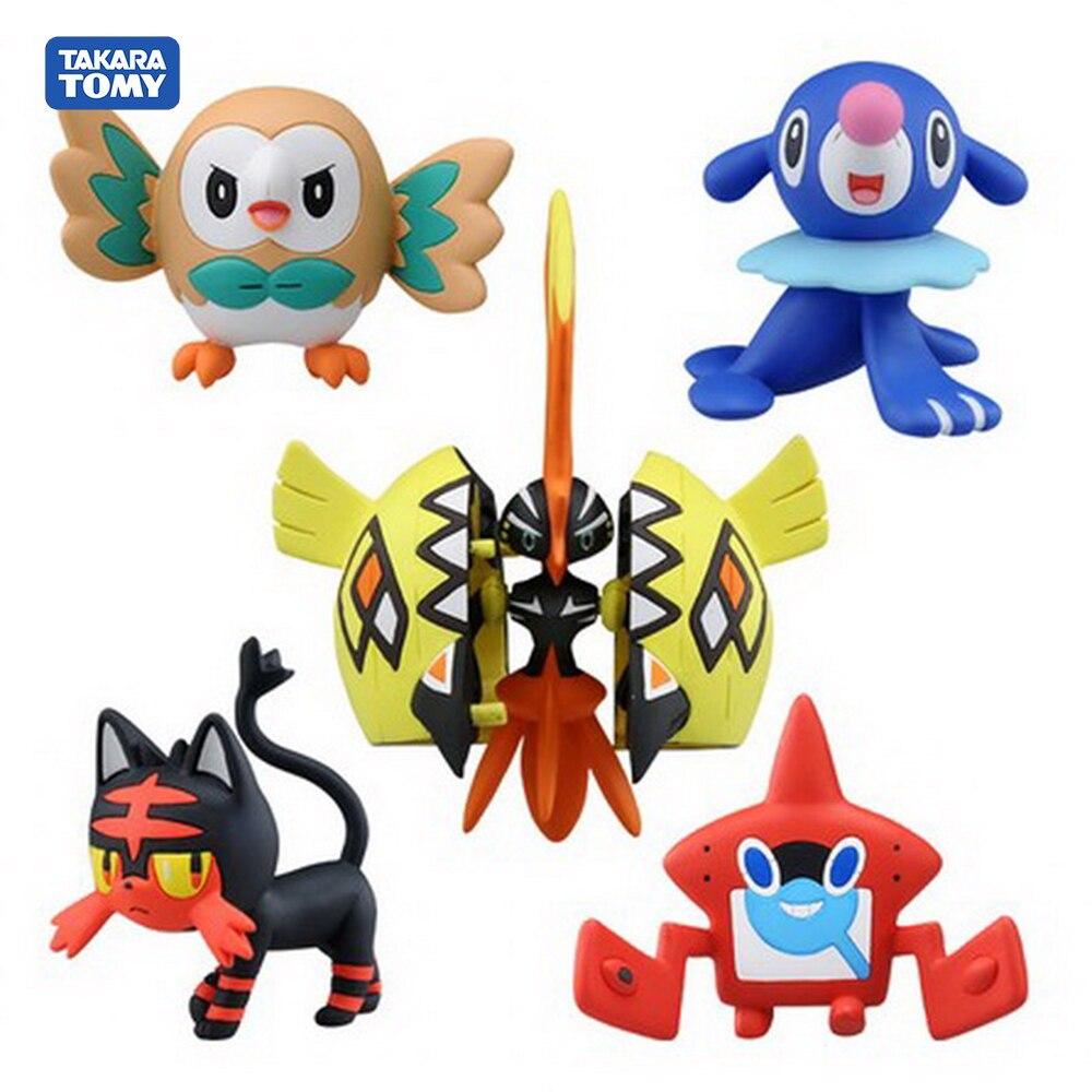 5 pçs/set Original Pokemon Monstro Modelo Figuras de Ação Bonito Koko Tapu Rowlet popplio Litten Pvc Para A Coleta de Crianças Brinquedo de Presente