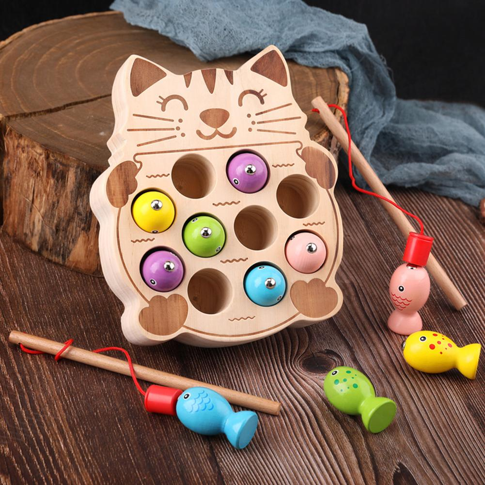 Wooden Pretend Cats Fishing Magnetic Board Game Interactive Children Toy Gift