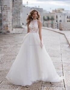 Image 4 - Halfter EINE Linie Weicher Tüll Hochzeit Kleider 2020 Innen Spitze Appliques Perlen Sash Ärmellose Bodenlangen Türkei Brautkleider