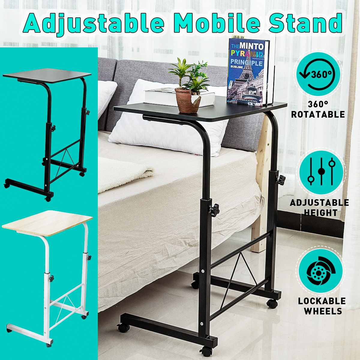 Adjustable Standing Computer Desk Table Portable Laptop Desk Rolling Laptop Table Bedside Sofa Home Office Furniture 60X40cm