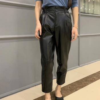 Oryginalne spodnie skórzane damskie plus rozmiar 2019 zimowe nowe mody streetwear spodnie z elastycznym pasem kobiet wysokiej talii spodnie harem tanie i dobre opinie Prawdziwej skóry Pełnej długości ML19343 Stałe Na co dzień Harem spodnie Mieszkanie Luźne Osób w wieku 18-35 lat