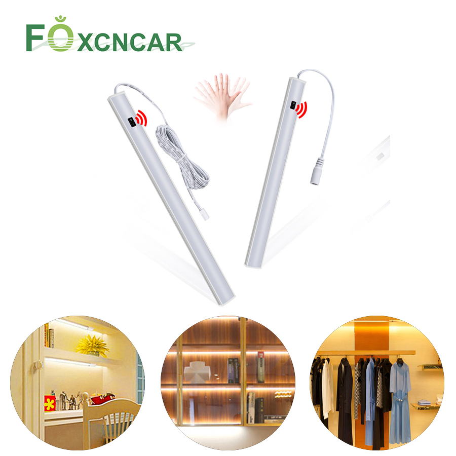 Hand Sweep Switch Under Cabinet Kitchen LED Light Bedroom Wardrobe Closet Night Lights 30/40/50cm LED Bar Light Indoor Home Lamp
