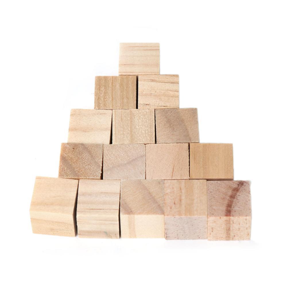 30pcs 15mm Wooden Square Crafts Kid Cube Building Blocks Geometric Model DIY Fun
