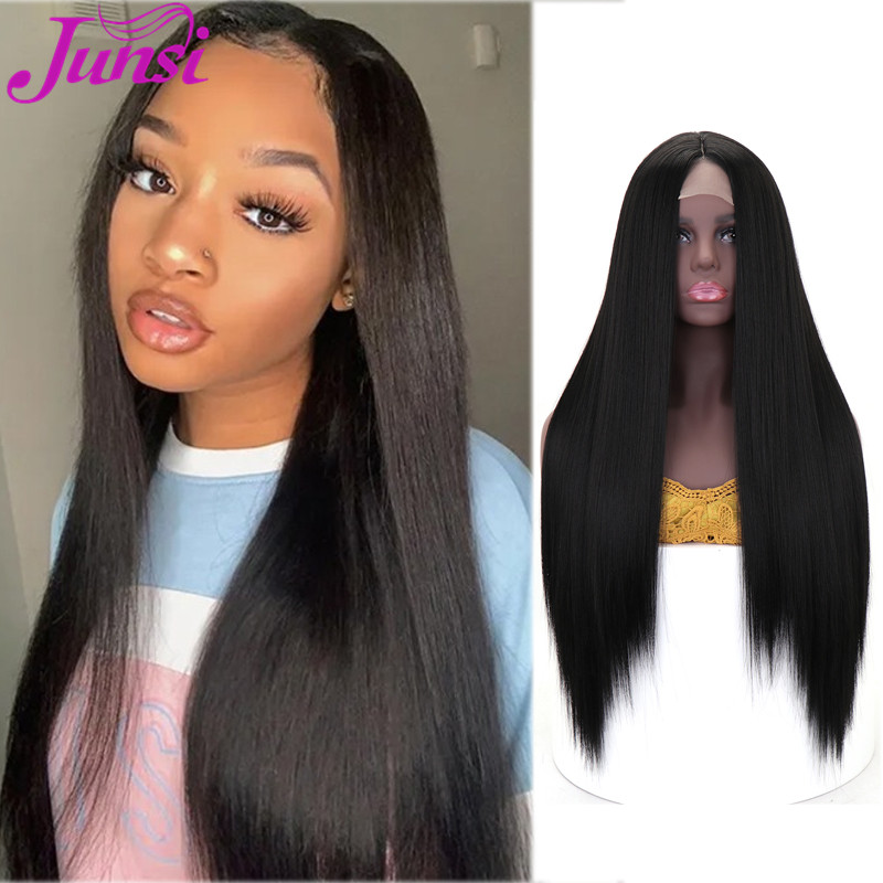 Long Black Straight Synthetic Wigs for Women Natural Middle Part Lace Wig Black Brown Heat Resistant Wig