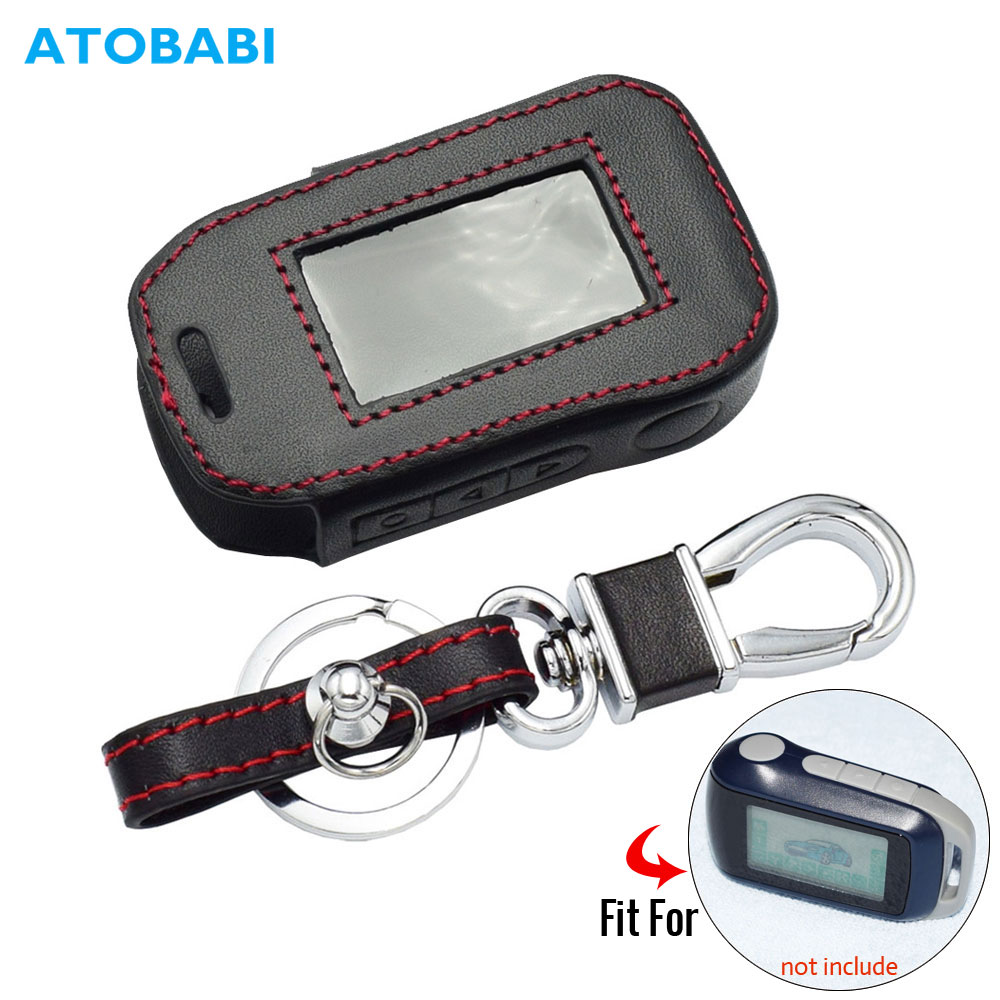ATOBABI Leather Key Case For StarLine A92 A94 A62 A64 A95 Two Way Car Alarm LCD Remote Control Transmitter Keychain Cover Bag
