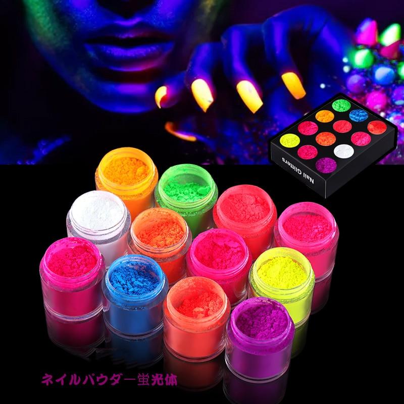 12 Colors Fluorescent Powder Nail Glitters Neon Phosphor Powders Dust Glow in the Dark Luminous Nail Art Pigment Decorations