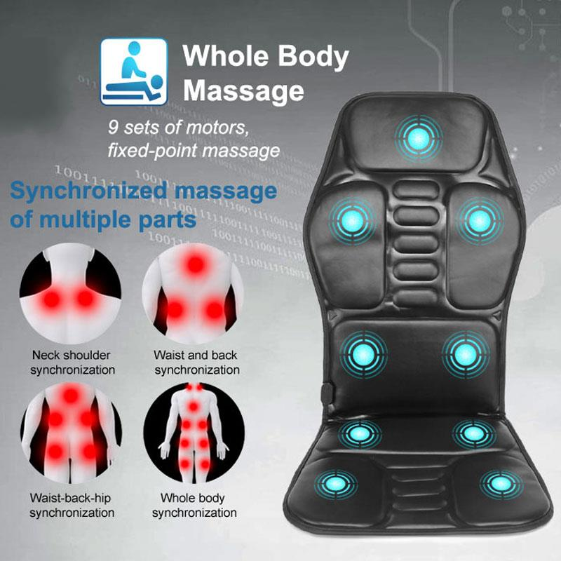 Electric 9 Motor Portable Heating Chair Car Home Office Vibrating Back Massager In Cussion Lumbar Neck Mattress Pain Relief Mat