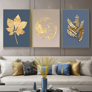Abstract Modern Gold Leaf Wall Art Picture Canvas Painting Nordic Golden Earth Posters And Prints Living Room Decor