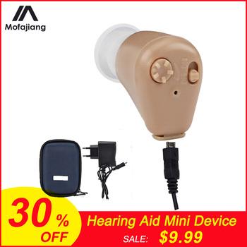 Aparat słuchowy akumulator lub bateria Mini niewidoczny wzmacniacz dźwięku regulacja głośności bezprzewodowe aparaty słuchowe urządzenie narzędzie do pielęgnacji uszu tanie i dobre opinie MOFAJIANG hearing aids Rechargeable or Battery Hearing Aids for Hearing Loss Volume Adjustable Free to Power on off Sound Amplifie