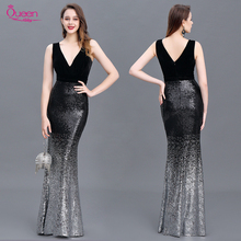 Sequin Evening Dress Mermaid Double V Neck Floor Length Sleeveless Elegant Evening Party Gowns 2020 New Dress Queen Abby