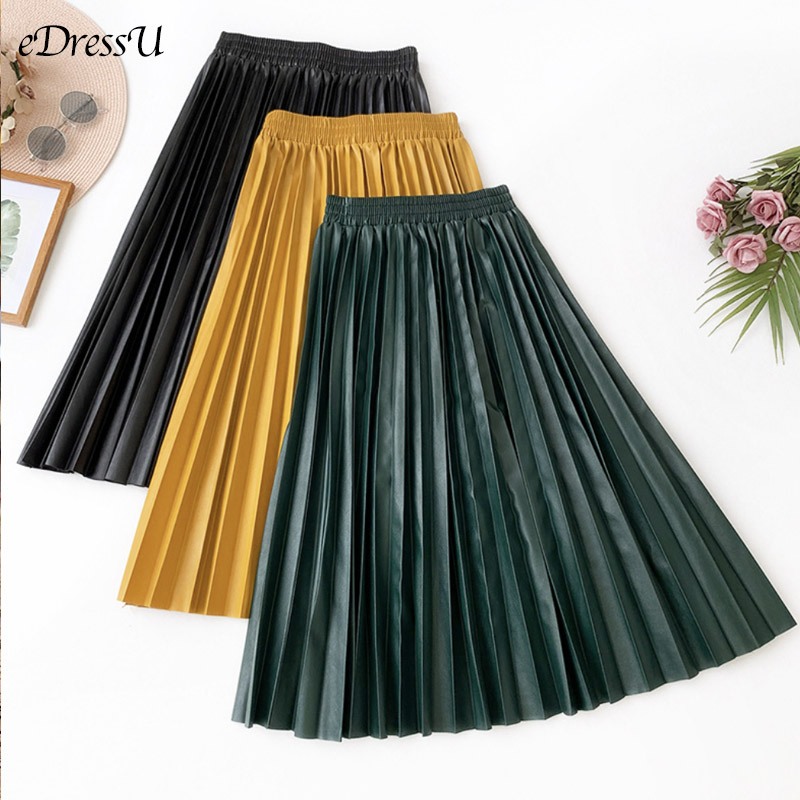 PU Leather Skirt NEW Pleated Skirt Winter Spring Faux Leather Skirt Vintage Bottom Midi Long Skirt Office Daily Streetwear JET-2 image