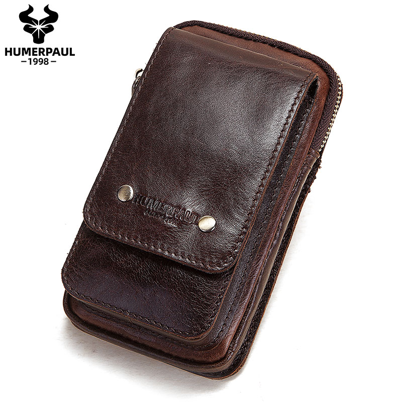 Real Leather Men Casual Small Waist Bag Luxury Brand Cellphone Loop Hook Bum Bag Outdoor Sport Fanny Multifunction Fanny Pack