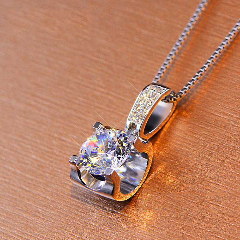 Luxury Female Crystal Round Pendant Necklace Cute Silver Color Zircon Long Necklace Fashion Bride Wedding Necklaces For Women