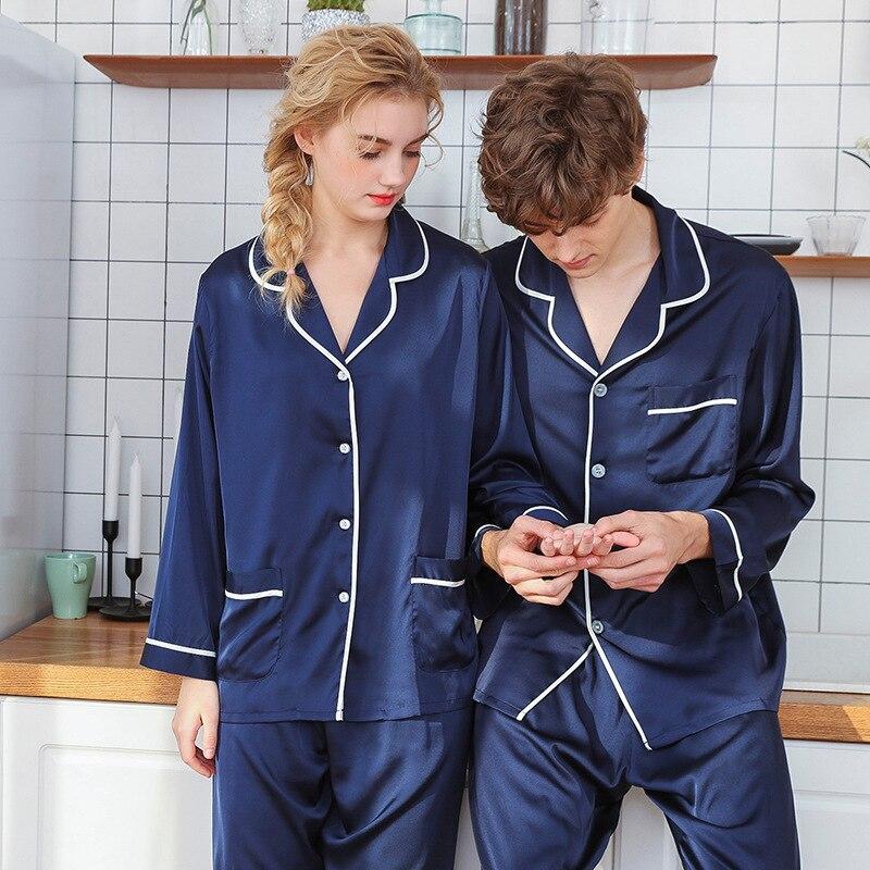 Купить пижамный комплект для мужчин и женщин однотонная одежда сна