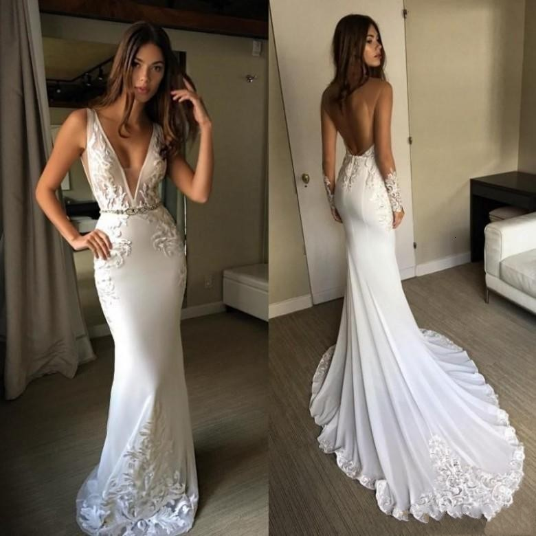 Deep V-neck Vintage Mermaid Wedding Dresses Appliques Sleeveless Backless With Sash Chiffon 2019 New Beach Bridal Gowns