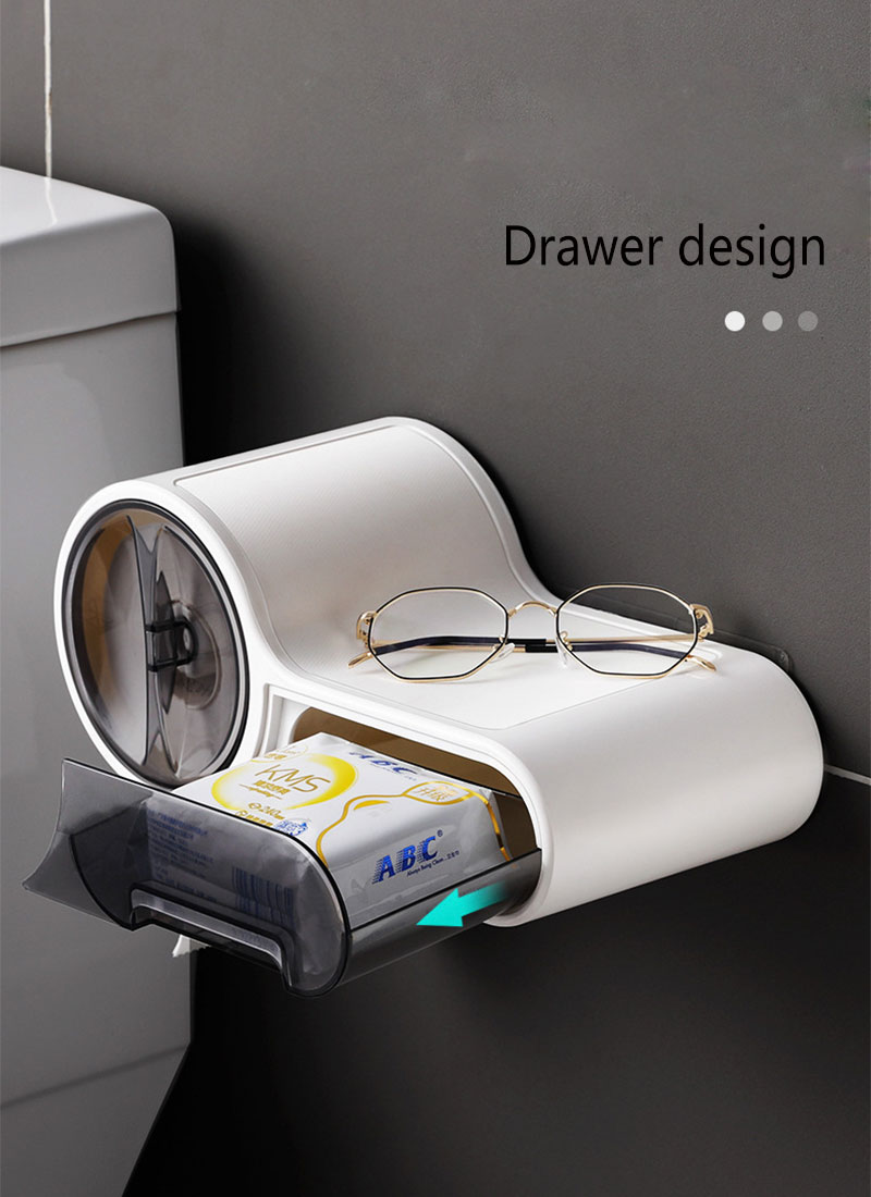 Baffect Bathroom Plastic Toilet Dispenser Toilet Paper Holder Paper Tissue Box Wall Mounted Roll Paper Storage Box Free Punching