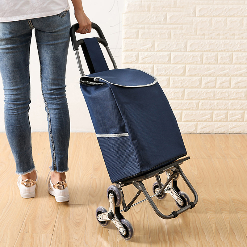 Go Upstairs Shopping Cart Trolley Large Goods Items Trolley Case Folding Trailer Trolley Household Portable Shopping Bag Women