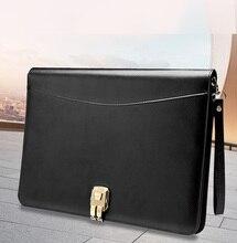 A4 Kıdemli PU deri padfolio İş Belge yöneticisi çantası portföy dosya klasörü ile şifreli kilit hesap makinesi fermuar klip 1321