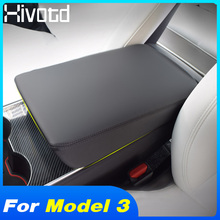 Hivotd For Tesla model 3 2019 Leather armrest box cover central hand-held protection cushion Interior accessory