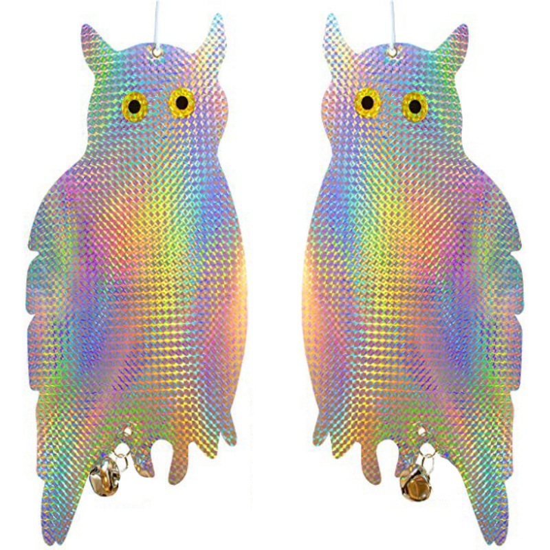 2PCS/Set Bird Repellent Scare Device Fake Owl Hanging Reflective And Holographic Woodpecker Deterrent Keep Birds Pigeons Away