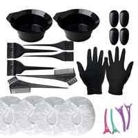 22 unids/set cepillo de tinte para el cabello, cepillo de colores, Bol, guantes, Clip, Kit profesional de utensilios de peluquería, Color