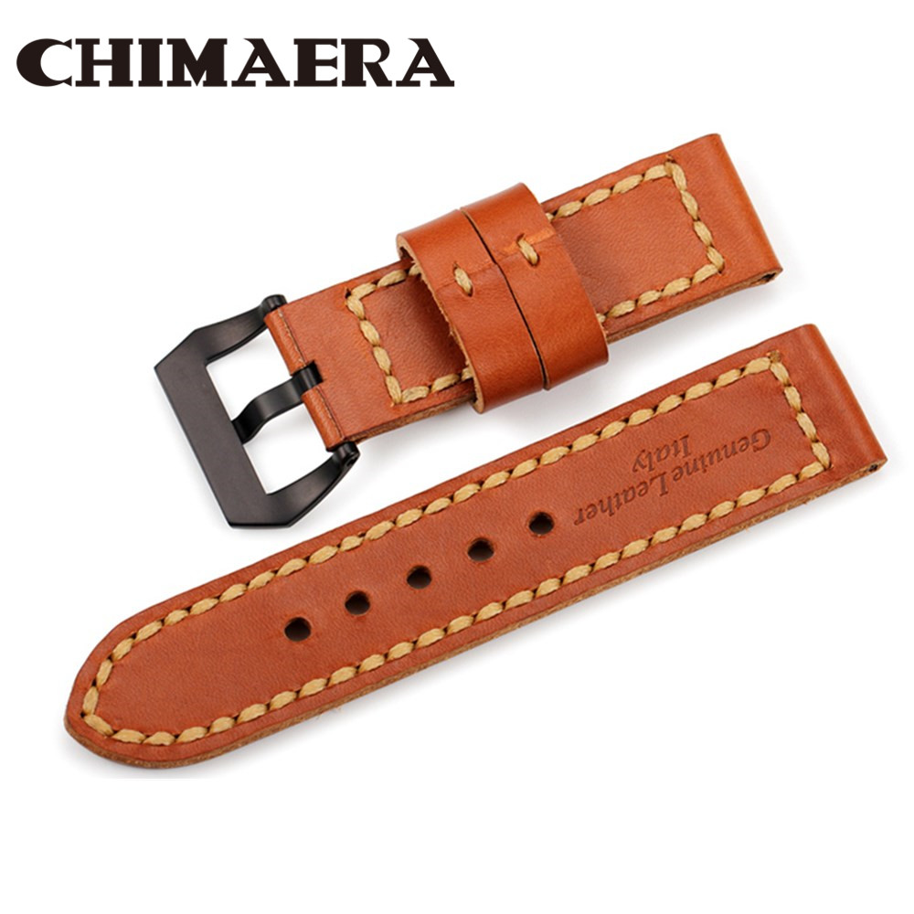 <font><b>Watch</b></font> band leather Brown 24mm Handmade Genuine Cowhide Watchband for Panerai Men's <font><b>Watches</b></font> <font><b>Watch</b></font> <font><b>strap</b></font> with Black Silver Buckle image