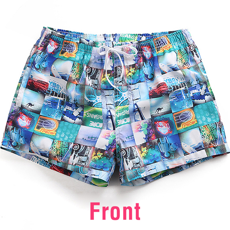 Mens Quick Dry Beach Shorts Thin Red Line Honor Floral Boardshorts Swim Surf Trunks