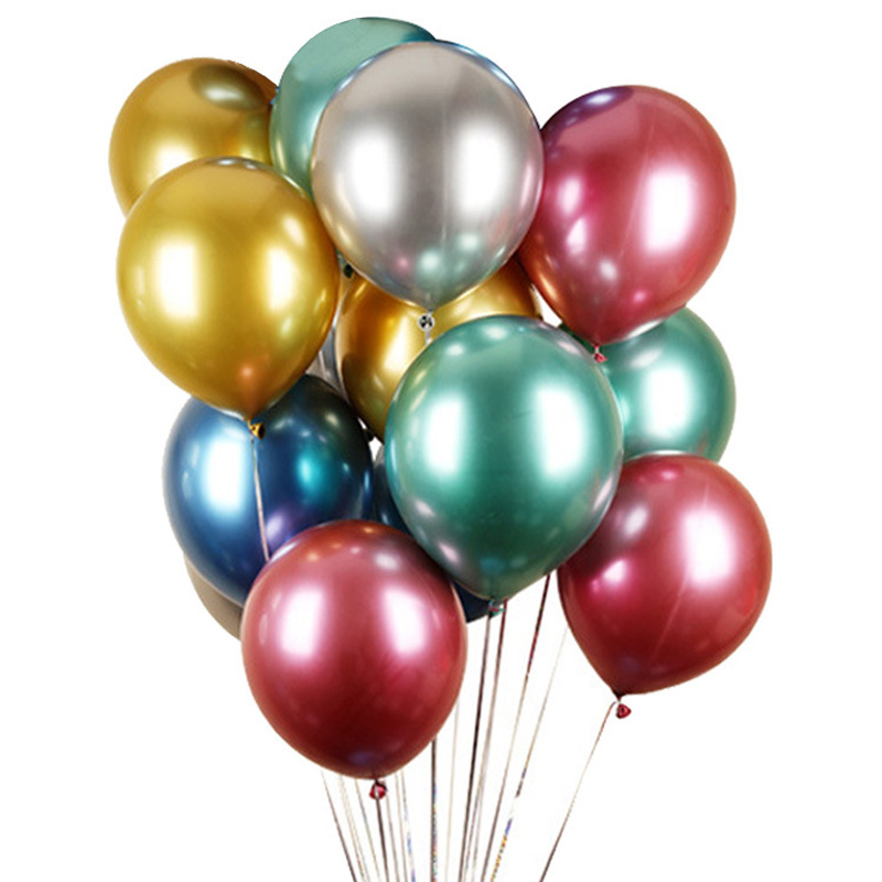 50pcs Metal Latex Balloon Suit Birthday Party Proposal Wedding Festival Decoration Game Reward 12 Inches