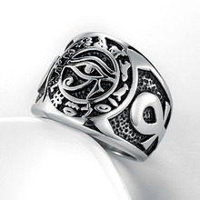 Valily Egyptian Pharaoh Eye of Horus Rune Amulet Rings Mens Ankh Cross Silver Color Stainless Steel Biker Ring Jewelry