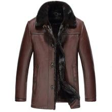 Куртка из натуральной кожи шуба из натуральной норки Зимняя мужская куртка из натуральной козьей кожи роскошные мужские куртки Chaqueta Hombre MY1717