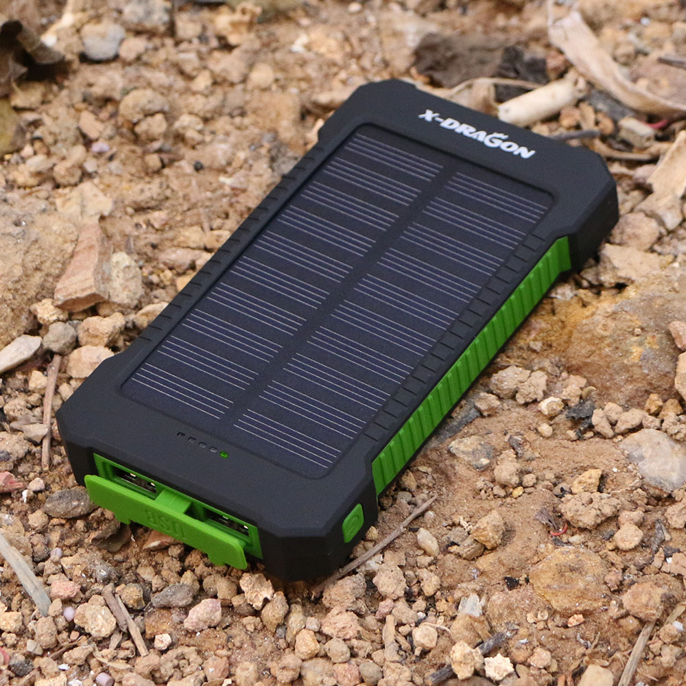 X-DRAGON Phone Charger <font><b>10000mAh</b></font> Dual USB Solar External Battery Power Bank for iPhone 6 <font><b>6s</b></font> 7 8 Plus Samsung s8 s8+ LG HTC Sony image