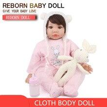 купить NPKDOLL Reborn baby Doll Vinyl Silicone Girl 22 inch Cloth Baby Dolls beautiful toys gift 55 cm Toy Doll онлайн