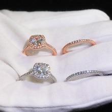 Anneaux pour femmes carré quatre broches zircon cubique anneaux argent plaqué Couple anneaux de mariage cadeau pour petite amie bijoux de mode