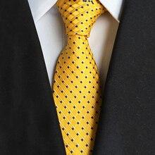 8cm Men's Classic Tie Silk Woven Plaid Striped Cravata Yellow Ties Man Business Necktie Accessories Gold Party Formal Suit