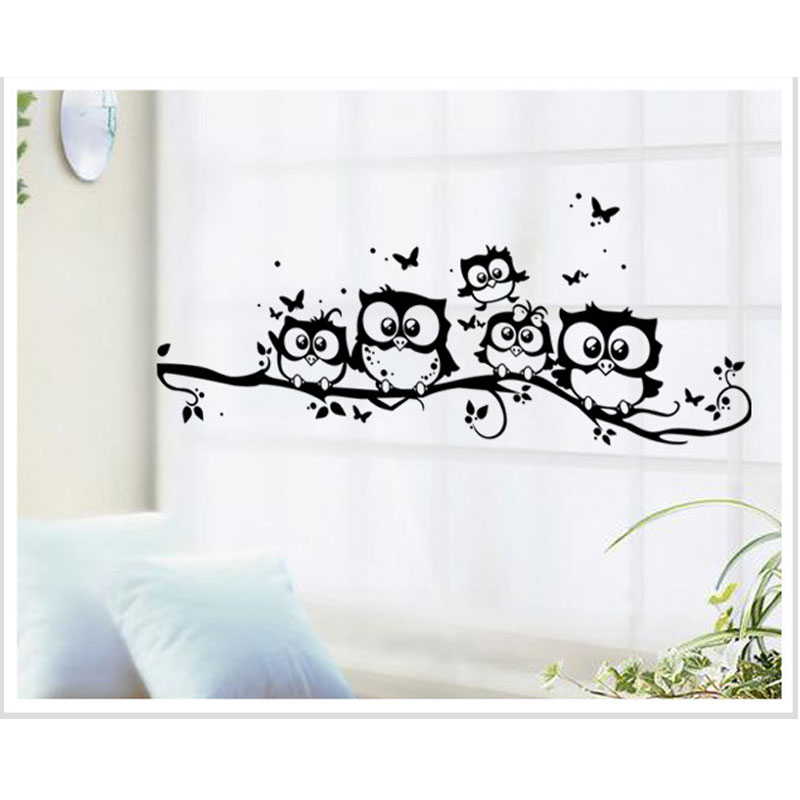 Cute 5 Owls On The Tree Wall Stickers Animals Stickers Butterfly Wall Sticker For Children Room Wall Decals For Baby Room