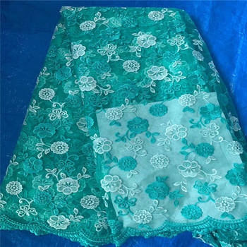 High Quality Bridal Dress African Lace Fabric Embroidered French Tulle Lace Embroidery 3D Flower lace Fabric HX54-1