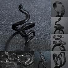Punk liso preto cobra anel estilo europa coração do vintage mamba jóias anéis para meninas feminino de alta qualidade