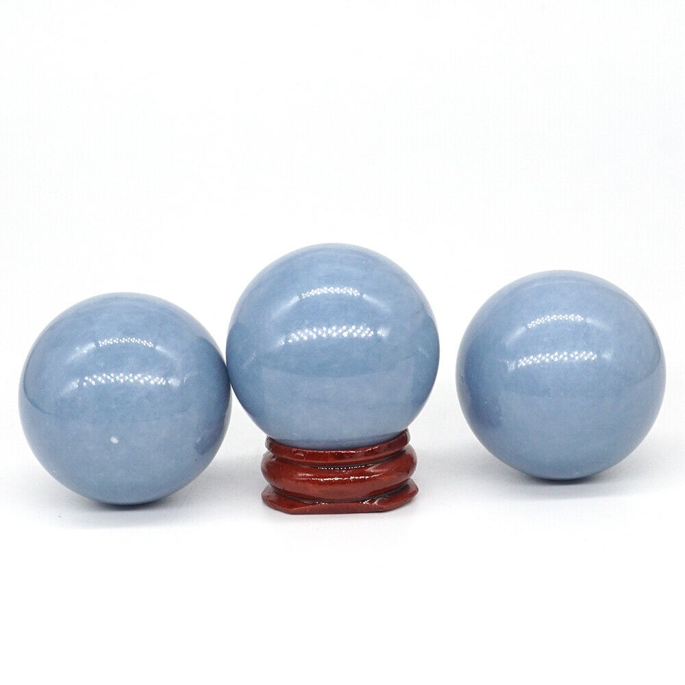 40MM Natural Gemstone Blue Angelite Crystal Reiki Healing Sphere Ball Home Decor (1pcs)