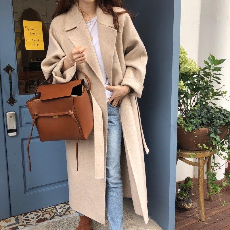 19 Winter Oversize Long Trench Coat Women Cashmere Coat Korean Lady Windbreaker Outwear Streetwear 64