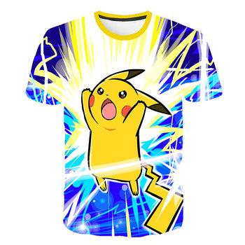 Koszulka z nadrukiem Pokémon 3D chłopiec dziewczyna ubrania dzika twarz Casual O-neck lato z krótkim rękawem Cosplay śmieszny T-shirt Pokemon tanie i dobre opinie SILK POLIESTER CN (pochodzenie) 4-6y 7-12y 12 + y Damsko-męskie moda W stylu rysunkowym REGULAR Dzieci Z okrągłym kołnierzykiem