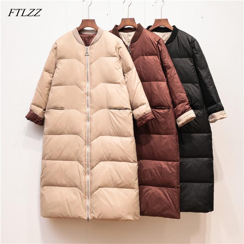 FTLZZ Winter Jacket 90% Ultra Light White Duck   Down     Coat   Women Long   Down   Parkas Female Warm High Street Outwear