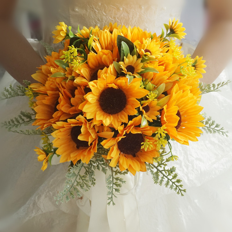 Sunflower Wedding Bouquet For Bride Bridal Bridesmaid Vintage