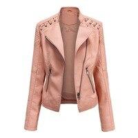 Свободная женская куртка из кожи на молнии с отложным воротником 1
