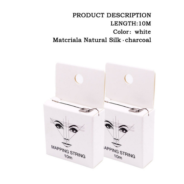 Pre-Inked Mapping String for Eyebrow Measuring Made From Natural Bamboo Charcoal Thread. Microblading Supply 10Meter 5