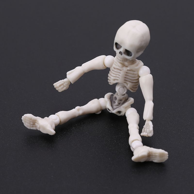 Movable Mr. Bones <font><b>Skeleton</b></font> Human Model <font><b>Pose</b></font> Skull Full Body Mini Figure Toy Halloween Desk Ornament image