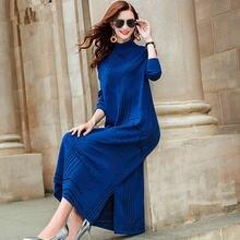 Zuoman 2020 на осень зиму миди платье свитер для женщин средней