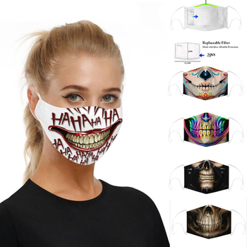3D Printed Protective Mask Kpop Funny PM2.5 Filter Anti Dust Anti Bacteria Flu Women Men Face Mouth Masks Reusable Mouth-muffle