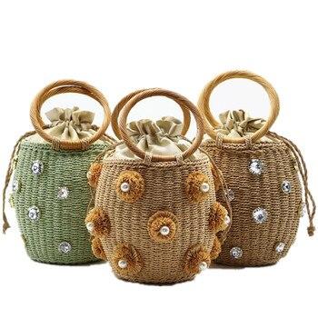 fashion flower pearls rattan buckets bag for women luxury design diamonds wicker woven handbags summer beach straw large totes rattan straw woven bag women wicker basket tote fashion summer beach large purse