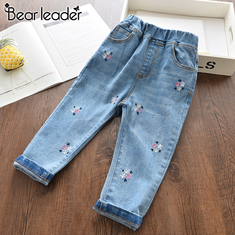 Bear Leader Girls Jeans New Spring Summer Floral Trousers Kids Jeans Casual Pants Children Jeans Fashion Children Clothing 3 8Y